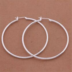 """Womens 925 Sterling Silver 50mm 2"""" Big Round Large Thin Hoop Earrings E39"""