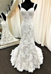 Demetrios 290 size 2 ivory-oyster lace low back wedding dress gown $2060