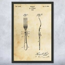 Framed Fork Print Culinary Gifts Gourmet Chef Cutlery Antique Silverware