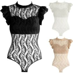 High Neck Lace Ruffle Frill Sleeve Bodysuit Bodycon Sheer Mesh Net Bralet Top