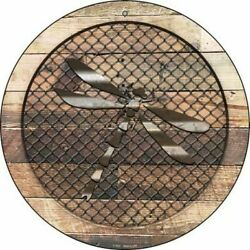 Dragonfly Fence Fencing 12quot; Round Aluminum Metal Sign Rustic Home Wall Decor $13.88