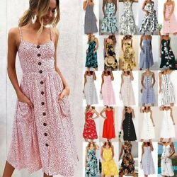 Summer Women Boho Holiday Strappy Floral Maxi Beach Sundress Party Long Dress $16.99