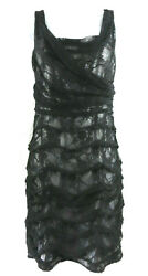 NWT $128 Express Dress Black Ruched Lace Stretch Sheath Party Cocktail 12 $19.99