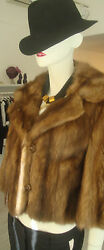 TIGRE ROYAL GENEVE SHORT REAL SABLE FUR SILKY BOLERO JACKET COAT GLOWING SEXY