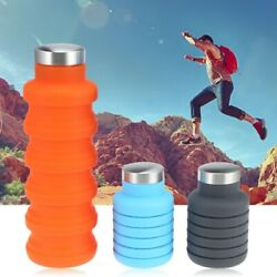 550ML Silicone Foldable Water Bottle Gym Camping Travel Drinking Collapsible Cup
