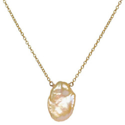 14-15mm Pink Baroque Coin Pearl Pendant Necklace 18inches cultivation aurora