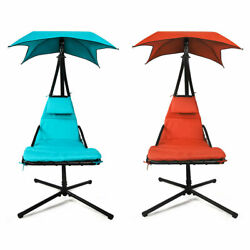 Hammock Chair Hanging Chaise Lounger Outdoor Patio Swing Stand wCanopy Arc