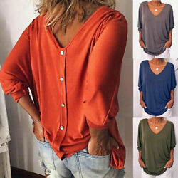 Womens Loose 34 Sleeve Back Buttons T Shirts Plus Size V Neck Solid Top Blouse