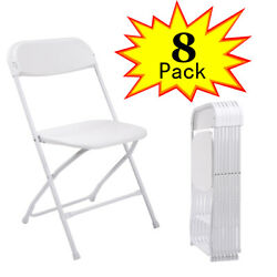 8 PACK Commercial White Plastic Folding Chairs Stackable Wedding Party Chair