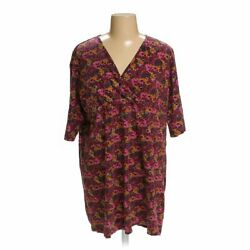 Ulla Popken Women's Dress size 16  maroon orange pink  cotton