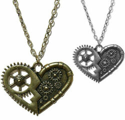 Steampunk Heart Necklace Gears Industrial Pendant Bronze Gothic Punk Cosplay $6.99