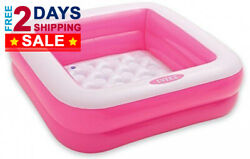Premium Pink Square Baby Inflatable Pool - Swimming Pools for Kids Baby Toddler