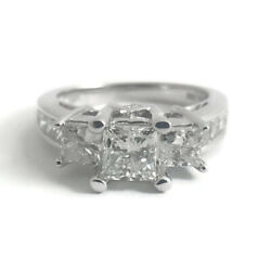 3-Stone Princes Cut Diamond Engagement Ring 14K White Gold 1.80 CTW 5.00 Grams