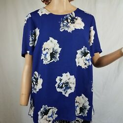 Vince Camuto Blue Floral Short Sleeve High Low Blouse Size L Back Detail  $19.96