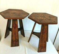 Pair Antique Carved Pyrography Arts & Crafts Stands Tables Folk Art