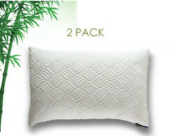 2 Pack HYPO-ALLERGENIC SHREDDED BAMBOO HIGH DENSITY MEMORY FOAM PILLOW