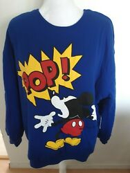 Disney Sweater Reversible Mickey Mouse Size 2XL Blue And White Thick Shirt