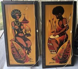 (2) Vintage Ashbrook Studio Lighted Acrylic Paintings - Exotic African Natives