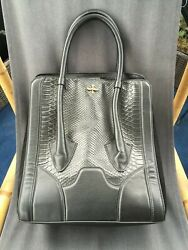 Pour La Victoire BUTLER Large Tote Purse Suede Snake black on black