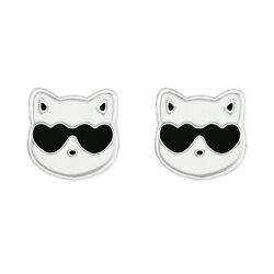 Epoxy Cat with Sunglasses Stud 925 Sterling Silver Post Children Women Earrings