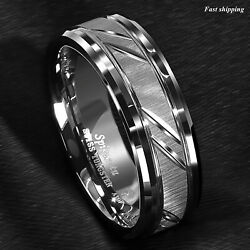 86mm Tungsten Carbide Ring Silver leaf New Brushed Style Bridal ATOP Jewelry