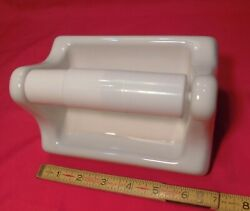 Vintage *Glossy White* Porcelain Ceramic Toilet Paper Holder: Made 1960#x27;s NOS $19.55
