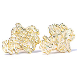 Mens 14k Gold Plated 925 Sterling Hip Hop Small Gold Nugget Stud Earrings $22.99