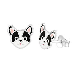 Epoxy Cute Dog Head Stud 925 Sterling Silver Post Children Women Earrings