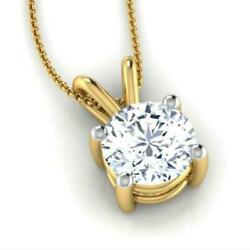 GLAMOROUS 3.00 CT F SI2 ROUND DIAMOND PENDANT 14 K YELLOW GOLD NECKLACE