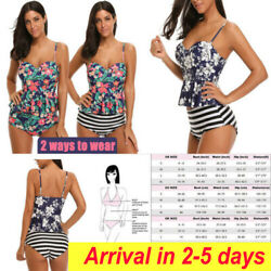 Women Tankini High Waisted Swimsuits Bathing Suit Floral Swimwear with Briefs $8.54