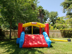 Outdoor Inflatable Bounce House Kids Slide Jumping Blower Backyard Playground