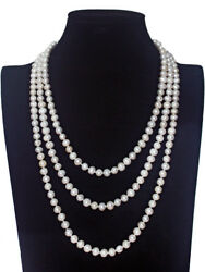 Long 68 Inch Genuine White Black Cultured Freshwater Pearl Necklace