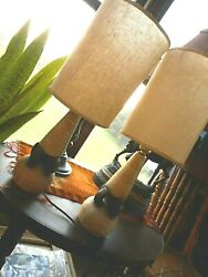 MCM Pair Table Lamps Mid Century Small Includes Shade Cream white black Works $625.00