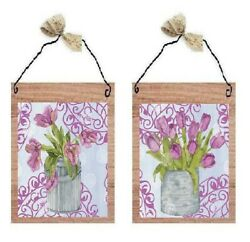 Pink Tulips in Vase Pictures Floral Flowers Kitchen Decor Wall Hangings Plaques $7.99