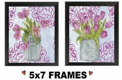 💗 5x7 Pink Tulips in Vase Pictures Floral Flowers Kitchen Decor Wall Hangings $13.99
