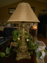 Antique Victorian Table Lamp Gold Double Socket Ornate Chalkware type ? Salvage $345.00
