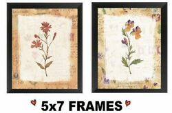 💗 5x7 Beige Flower Pictures Tan Framed Floral Kitchen Decor Wall Hangings $8.99