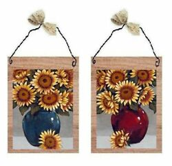 Sunflower Pictures Flowers in Vase Floral Kitchen Decor Wall Hangings Plaques $10.99