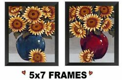 💗 5x7 Sunflower Pictures Flowers in Vase Floral Kitchen Decor Wall Hangings $8.99
