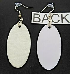 Faux Leather Handcrafted White Oval Dangle Drop Earrings #I-12-1