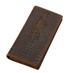 RFID Men Genuine Leather Clutch Long Wallet Cowboy Phone Card Holder Purse $25.20