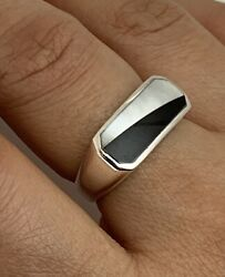 925 Sterling Silver Real Mother-Of-Pearl Black Onyx Gem Wide Ring Size 7 34 ~4g