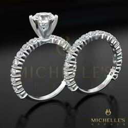 BRILLIANT CUT DIAMOND ENGAGEMENT RING BRIDAL SET 3 12 CT 18K WHITE GOLD