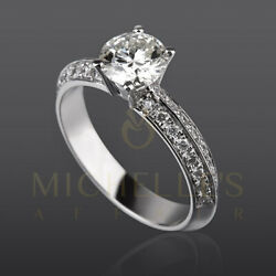 ROUND CUT DIAMOND RING 1.65 CT PAVE SET SOLITAIRE WITH SIDE STONES