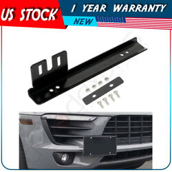 Black Universal Front Bumper License Plate Mount Bracket Relocator Holder Bar