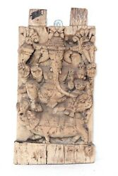 Wooden Panel Ganesha Riddhi 1900s Vintage Real Antique Rare Collectible Q-57