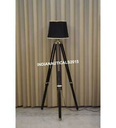 Nautical Vintage Floor Shade Lamp Black Wooden Tripod Stand Home Decor $90.00