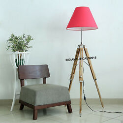Nautical Vintage Floor Shade Lamp Teak Wooden Tripod Stand Home Decor $75.00