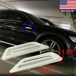 2PCS ABS White Air Flow Car SUV Vent Side Fender Grill Decor Stickers Universal