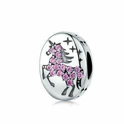 AAA 925 Sterling Silver Pendant Bead Unicorn Charm To Bracelet Necklace Chain